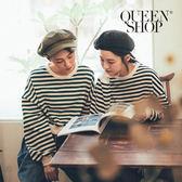 Queen Shop【01110408】配色條紋長袖短版上衣 三色售*現+預*
