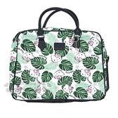 〔小禮堂〕Hello Kitty 尼龍拉鍊旅行袋《綠白.叢林.滿版》手提袋.行李袋.附造型吊飾 0840805-12557
