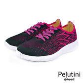 【Pelutini】donna超透氣時尚綁帶輕量時尚慢跑鞋  粉黑(0126W-PIN)