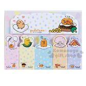 〔小禮堂〕蛋黃哥 日製造型自黏標籤貼組《黃綠.食物》N次貼.便利貼.書籤貼 4901610-06511