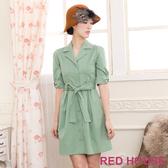 【RED HOUSE 蕾赫斯】翻領五分袖外套式洋裝(淺綠色)