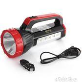 手電筒強光充電超亮多功能戶外打獵可手提探照燈家用手電    color shop