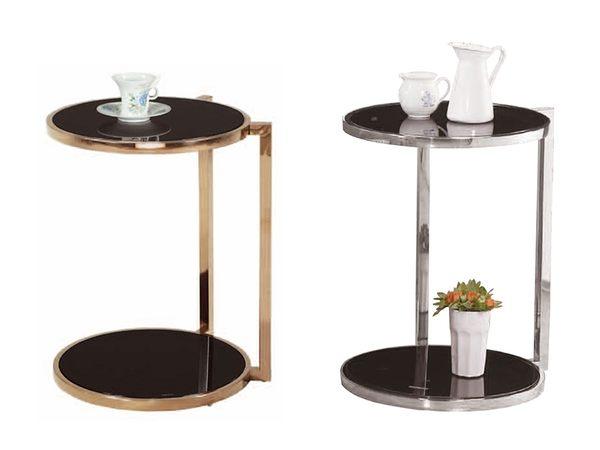 【森可家居】薩里不鏽鋼玻璃小圓几 8ZX686-8 小茶几 邊几 花盆裝飾置物架