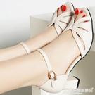 魚口鞋 女鞋性感魚嘴高跟鞋2020新款夏季粗跟魚嘴鞋一字帶涼鞋女時裝涼鞋 愛麗絲