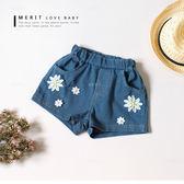 甜美花朵珍珠牛仔褲 牛仔短褲 丹寧褲 口袋 鬆緊褲頭 車線 可愛 女童 哎北比童裝