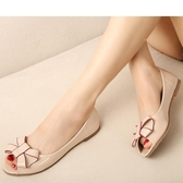 魚口鞋平底女涼鞋魚嘴夏季甜美蝴蝶結漆皮淺口大碼41-43平跟女單鞋新年禮物 韓國時尚週