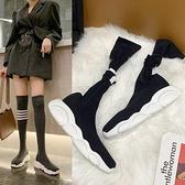 膝上靴 過膝長筒靴女2020秋冬新款時尚英倫厚底薄款透氣黑色顯瘦彈力襪靴