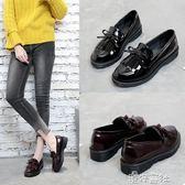 鞋子女春季小皮鞋女平跟單鞋厚底流蘇女鞋學院風樂福鞋 港仔會社