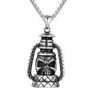 《QBOX 》FASHION 飾品【CHE774】精緻個性歐美復古骷顱頭煤油燈鑄造鈦鋼墬子項鍊/掛飾
