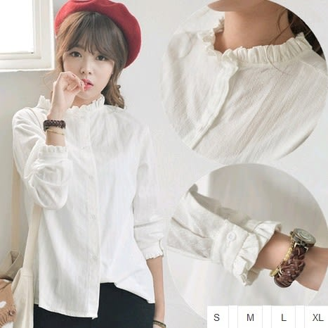 EASON SHOP(GU0921)木耳花邊小立領長袖白襯衫S-XL韓版小清新百搭棉麻長袖襯衣女