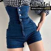 克妹Ke-Mei【ZT62813】日本jp版型收腹顯腰身高腰排釦牛仔短褲
