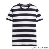 【GIORDANO】男裝簡約條紋風格圓領T恤(39 標誌黑/白色)