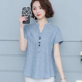 亞麻襯衫 棉麻襯衫女短袖夏裝新款豎條紋寬鬆V領洋氣繡花上衣亞麻襯衣 瑪麗蘇
