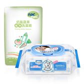 【奇買親子購物網】貝恩Baan NEW嬰兒保養柔濕巾80抽24入/箱+Nac Nac奶瓶清潔劑補充包600ml