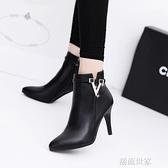 春季歐美單靴女靴短筒靴金屬扣細跟高跟側拉鏈馬丁靴尖頭時尚短靴『潮流世家』