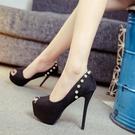 魚口鞋 超高跟鞋14cm夜場防水臺性感細跟12cm百搭黑色職業少女魚嘴單鞋春