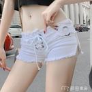 超短褲女夜店短褲女裝潮春季新款韓版時尚個性綁帶超低腰牛仔短褲熱褲 麥吉良品