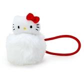 〔小禮堂〕Hello Kitty 毛球造型絨毛彈力髮束《白紅》髮圈.造型髮束 4901610-17087
