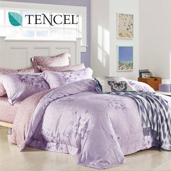 【Alleena】《桑尼多芙》天絲雙人床包涼被四件組