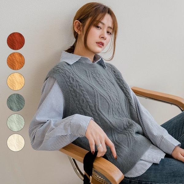 現貨-MIUSTAR 選色障礙!菱形麻花立體織紋混絨針織背心(共6色)【NJ0102】