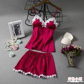 春夏季新女吊帶短褲性感睡衣兩件套裝真絲綢家居服蕾絲帶胸墊韓版