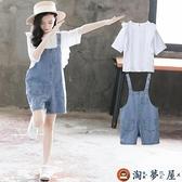 2件式 女童背帶褲套裝兒童裝洋氣網美夏季大童女裝【淘夢屋】