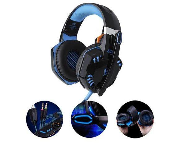 【台灣現貨直接發】 EACH G2000 電競用 耳罩式耳機 50mm單體 清晰逼真 酷炫夜光 黑藍 耳機