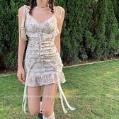 法式性感碎花吊帶仙女裙子春夏季蕾絲復古短裙2021新款魚尾連身裙 韓國時尚週