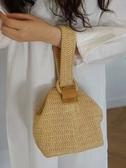 韓國jubine同款包包圓環扣可愛編織籃子手拎包小方包草編包   極有家