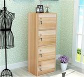 簡易書櫃帶門實木格子櫃現代儲物櫃帶鎖小櫃子學生組合收納櫃
