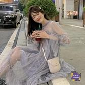 洋裝 很仙的法國小眾洋裝女2019新款裙子網紗仙女裙長款超仙甜美紗裙 2色【快速出貨】