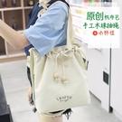 新款ins女包包日韓手工木珠抽繩文藝chic帆布包女單肩手提斜挎包-ifashion