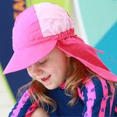 兒童泳帽帶沿遮陽泳帽海邊沙灘戲水兒童防曬防風彈力泳帽