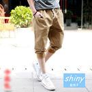 【Y063】shiny藍格子-街頭潮男.夏季韓版寬鬆運動哈倫七分褲