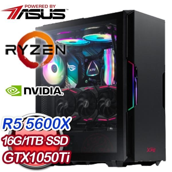 【南紡購物中心】華碩系列【無名火】AMD R5 5600X六核 GTX1050Ti 電玩電腦(16G/1T SSD)