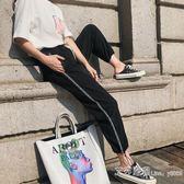 hiphop闊腿運動褲女夏季薄款2019新款燈籠褲子九分寬鬆休閒哈倫褲 艾莎嚴選