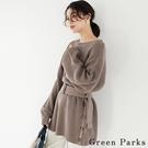「Winter」腰帶側扣設計澎袖長版針織上衣 - Green Parks