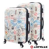 AIRWALK LUGGAGE - 精彩歷程 環郵世界行李箱24+28吋二箱組- 各地米白
