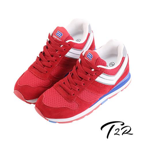 【韓國T2R】雙色運動風格增高休閒鞋 ↑8cm 紅(5600-0092)