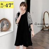 休閒洋裝--顯瘦素面連袖條紋雪紡拼接荷葉裙襬短袖圓領連身裙(黑M-3L)-D607眼圈熊中大尺碼◎