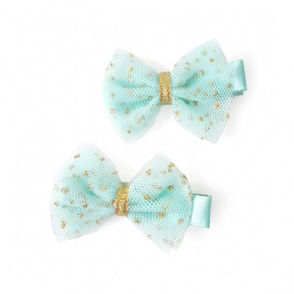 美國 JoliI Sophie 蝴蝶結髮夾2件組 灰白格紋