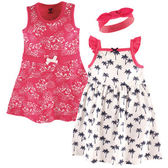 美國Luvable Friends 女寶寶 短袖裙子&連身裙&髮飾 三件式套裝 白樹【LU55216】