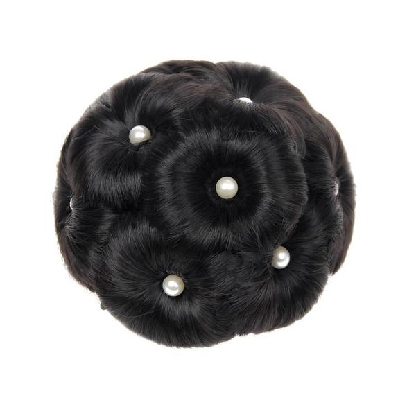 丸子頭升級版珍珠抓夾花苞頭假髮丸子頭髮夾九朵花隱形自然髮包盤髮