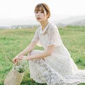 蕾絲連衣裙夏季新款網紗縷空收腰顯瘦娃娃領系帶少女心仙女裙 QQ1866『MG大尺碼』