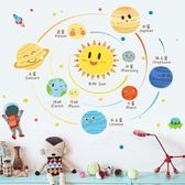 卡通行星星球墻貼兒童房創意墻面裝飾貼紙幼兒園教室早教布置貼畫ღ夏茉生活YTL
