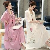 茶人服夏大碼女裝棉麻連身裙200斤胖妹妹顯瘦復古禪意民族中國風 格蘭小鋪