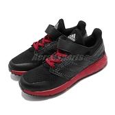 adidas 慢跑鞋 FortaFaito EL K 黑 紅 童鞋 運動鞋 魔鬼氈 【ACS】 EE7307