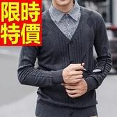 假兩件式襯衫 時髦羊毛-風靡時尚長袖男毛衣2色59ac36[巴黎精品]