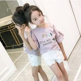 女大童半袖韓版露肩兒童喇叭袖上衣 LQ5278『小美日記』