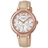 【CASIO】 SHEEN 奢華之美晶鑽皮帶錶-玫瑰金X駝色錶帶(SHE-3048PGL-7B)